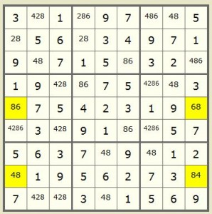 Diagram2 - How to Use X Wing Column Sudoku Strategy